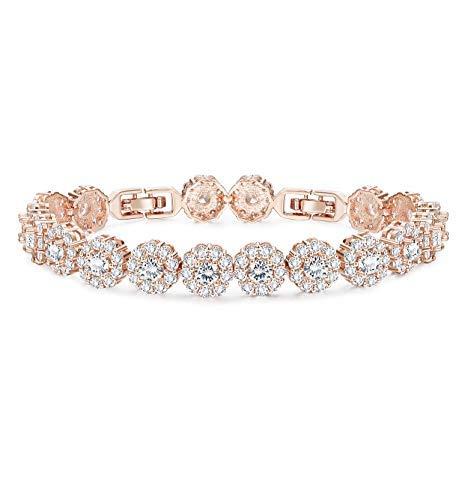 Finrezio Rose Gold Plated Cubic Zirconia Bracelet for Women Girls Clear CZ Bracelets for Her