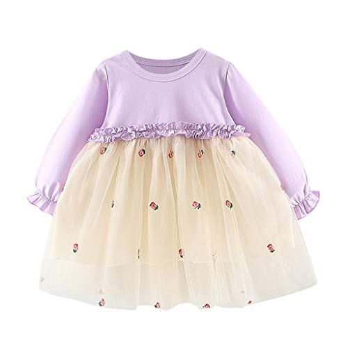 TEVEQ Toddler Girls Embroideri Floral Sunflower Tulle Patchwork Tutu Princess Party Dress]()