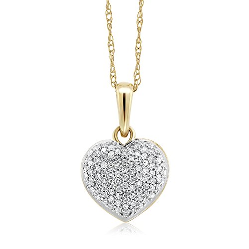 GemStoneKing 10K Two-Tone 0.15 CTW White Diamond 10mm Heart Shape Pendant Necklace With 10K Gold Chain For Women (Diamond Shape Diamond Pendant)
