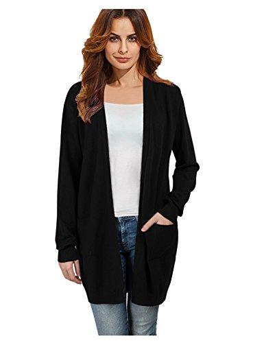 Womens Casual Long Sleeve Open Front Thick Cardigan Sweater Black S