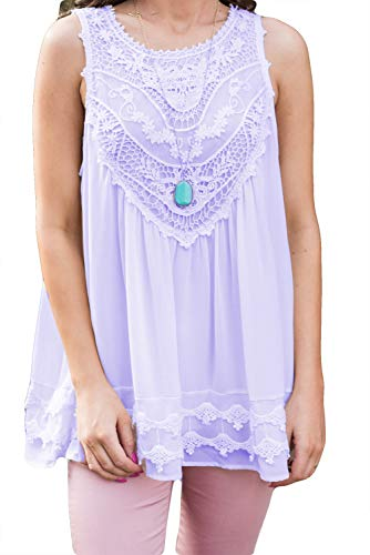 POGTMM Women's Plus Size Summer Casual Sleeveless Lace Tops Lace Trim Tunic Tops Chiffon Blouses (S(4-6), Z-Purple)