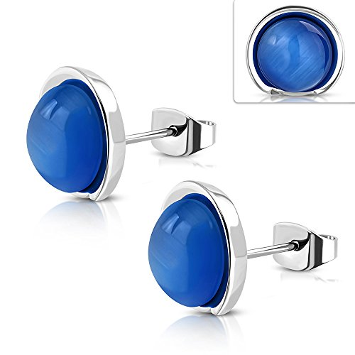 16mm | Stainless Steel Button Stud Earrings w/ Round Cabochon Royal Blue Cats Eyes Stone (Pair) - EST032