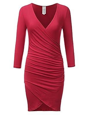 DRESSIS 3/4 Sleeve Tulip Hem Wrap Bodycon Dress