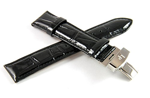 Lucien Piccard 20MM Glossy Black Real Leather With Alligator Grain/Texture Watch Strap & Silver LP Butterfly (Black Glossy Leather Watch Band)