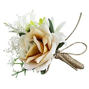 Fityle Wedding Wrist Corsage Boutonniere Artificial Rose PE Fake Flower for Bridal Party Prom, Sister Hand Flower 1