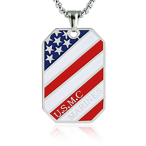 Marine Dog Tag Pendant - HZMAN Stainless Steel Men's American Flag Dog Tag Pendant Necklace,Gold and Silver (U.S.M.C Marines - Silver)