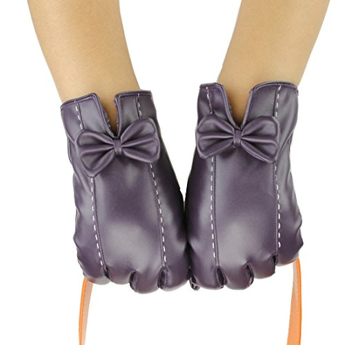 D.King Womens Touchscreen Texting Winter PU Faux Leather Gloves Driving Outdoor Warm Lining Purple