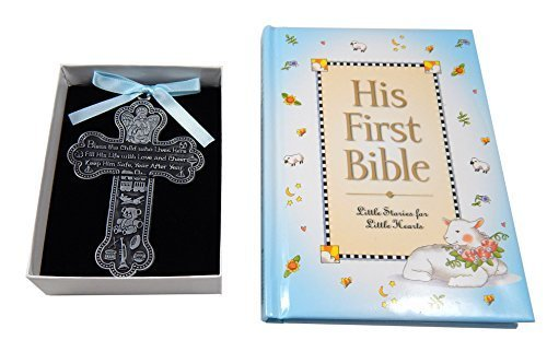 Baby Boy First Bible and 4'' Pewter Baptism Guardian Angel Crib Cross