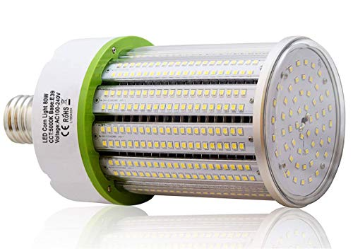 Techno Earth 80W LED Corn Light Bulb, Large Mogul Base E39 LED Bulbs, 10800 Lumens, 5000K Daylight, Replacement for 200W-300W Outdoor Indoor Area Lighting HID/CFL/HPS