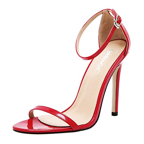 Sandales Chaussure Boucles Escarpins Sexy Cuir Cheville Ete Rouge Haute wealsex Talon Talon Femmes Aiguille Ouvert Vernie Bout PIdwOS