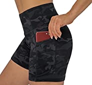 THE GYM PEOPLE High Waist Women's Running Shorts with Side Pockets Tummy Control Workout Athletic Yoga Shorts