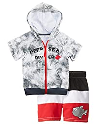 Wippette Little Boys' Toddler Big Fish Diver Rashguard Coverup Swim Trunk Set, Grey, 4T