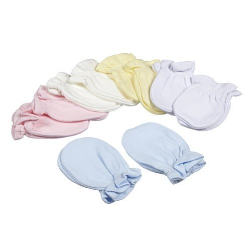 Baby Girl Boy Newborn Scratch Mittens pack of 2 pairs. 100 Cotton (Cream) Bb sky