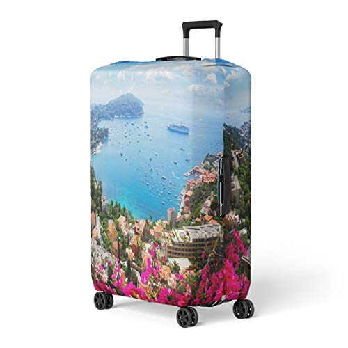 Semtomn Luggage Cover Lanscape of Riviera Coast Turquiose Water Flowers and Blue Travel Suitcase Cover Protector Baggage Case Fits 18-22 - Cap Ferrat Riviera