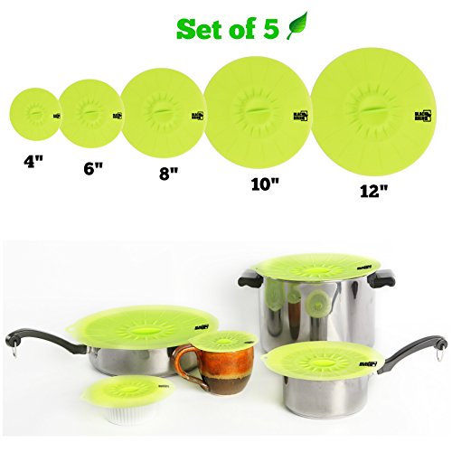 Non Toxic Premium Silicone Lid Covers for Pots Pans Bowls Cups - Set of 5 Sizes 12