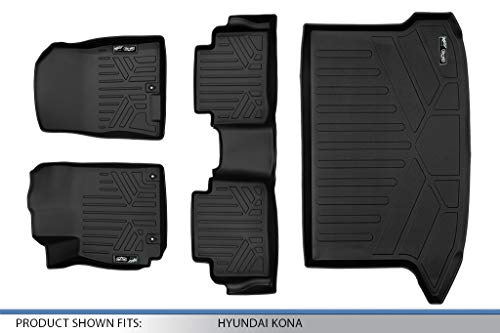 MAXLINER Floor Mats 2 Rows and Cargo Liner Set Black for 2018-2019 Hyundai Kona