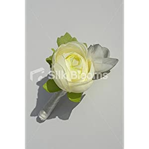 Simple Ivory Ranunculus & Grey Freesia Buttonhole