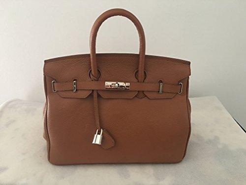 Carbotti - Sac à mains cuir de luxe femme - Belleza cognac