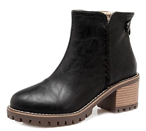 Booties Zip Round Aisun Black Women's Toe Trendy Up Ankle qf0T7Hw0