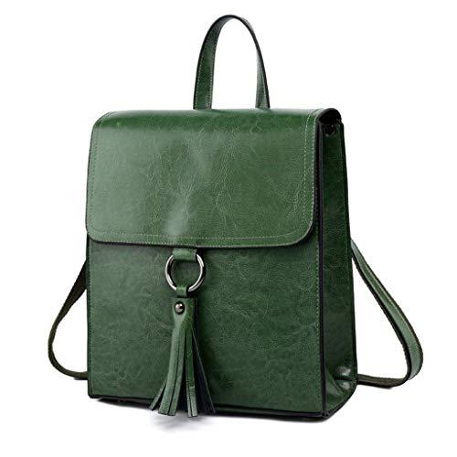 HYLH Fashion Modern Leather Women's Backpack Simple Rucksack Waterproof Handbags School Travel Outdoor Shoulder Bags (Color : Brass)