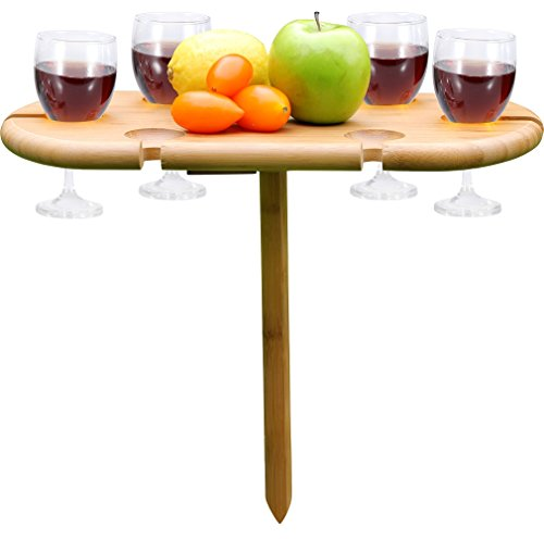 INNO STAGE INNOSTAGE Picnic Wine Table, Portable and Foldable Bamboo Snack Table for Picnic Outdoor on the Beach Park or Indoor Bed-6 (Bamboo Wine Table)