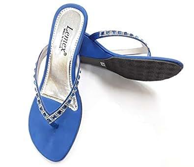 LEMEX Blue Thong Slipper For Women