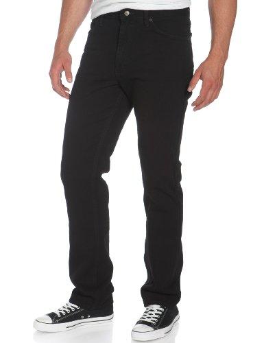 Lee Men's Regular Fit Straight Leg Jean, Double Black, 40W x - Leg Black Jeans Straight