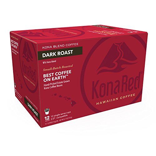 Konared Kona Blend Coffee  Dark Roast  Single Serve Pods  12 Count  Compatible With 2 0 K Cup Brewers