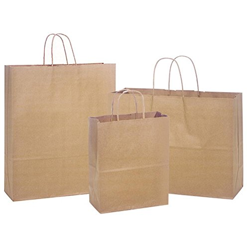 Natural Kraft Shopping Bags Assortment - 3 Different Sized Bags - 300 Pack by NW