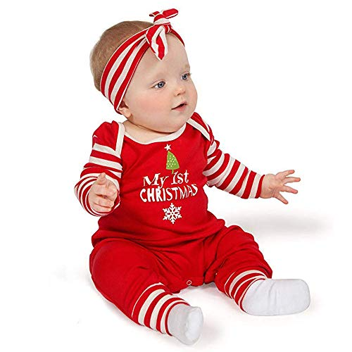 Newborn Baby Boys Girls Outfit My First Christmas One Piece Long Sleeve Bodysuit+Headband Clothes Set (3-6 Months, Red)