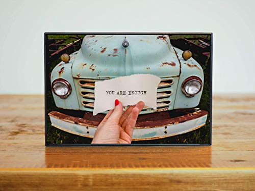 Framed Picture Vintage (You Are Enough Inspirational Art Small Framed Photo Vintage Blue Truck- 4x6)