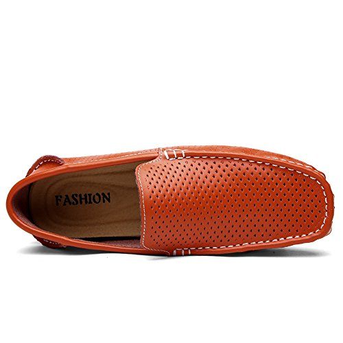Conducción Suela Penny los Plana Mocasines Vamp Hollow Suave Hombres Loafers on Slip de Orange TgwrTqF