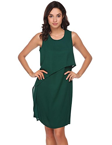 ANGVNS Women's O-Neck Sleeveless Dress Back Zipper Double Layers Chiffon Tunic Dress (Layer Double Tunic)