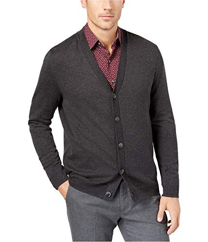 Tasso Elba Mens V-Neck Heathered Cardigan Sweater Gray XXL -