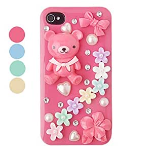 hao DIY Bear and Flower Plastic Back Case for iPhone 4/4S(Assorted Color) , Rose