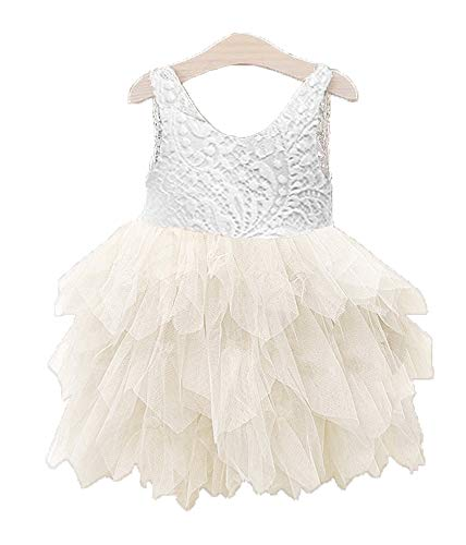 Topmaker Backless A-line Lace Back Flower Girl Dress (0-6 Month, Non-Beads-Ivory)