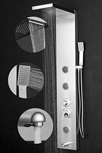"""Perfetto Kitchen and Bath 55"""" Rainfall Waterfall Stainless Steel Bathroom Shower Panel System w/Tub Spout & Handheld Wand"""