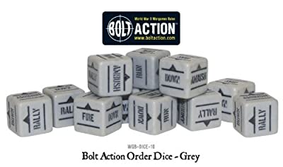 Grey Pack Of 12 Bolt Action Orders Dice by Gates Of Antares