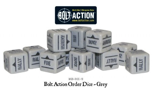 Grey Pack Of 12 Bolt Action Orders Dice