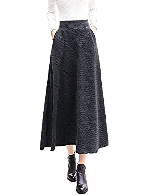 IDEALSANXUN Women's Elastic Waist A-line Wool Plaid Pleated Long Skirt