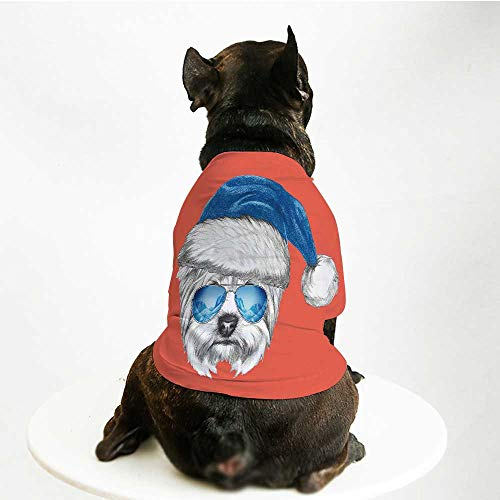 (YOLIYANA Yorkie Stylish Pet Suit,Terrier with a Blue Santa Hat and Mirror Aviator Glasses Fun Hand Drawn Animal Decorative for Small Medium Big Dogs,L)