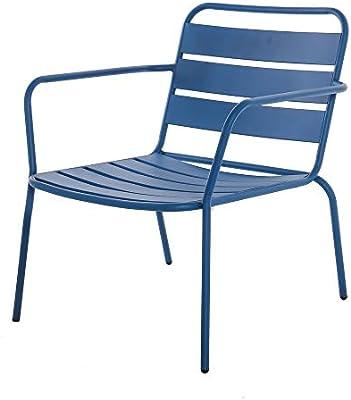 Silla Baja Relax apilable de Acero Azul de Exterior para terraza Garden - LOLAhome: Amazon.es: Jardín