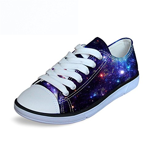Price comparison product image FOR U DESIGNS Cool Blue Night Sky Print Big Kids Boys Girls Canvas Walking Shoes Lace Up US 3