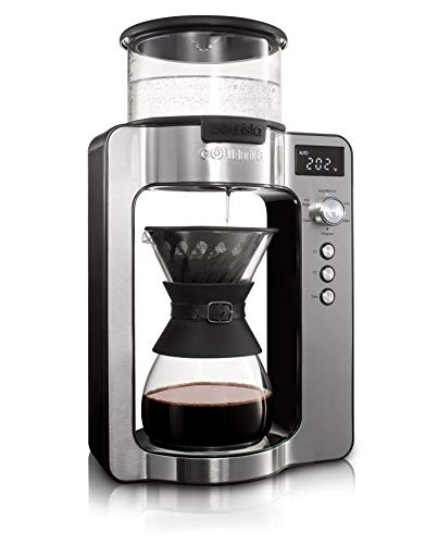 Gourmia GCM3350 Fully Automatic Pour Over Coffee Brewer – Built-in Scale with Auto Ratios – Rotating Spout – Authentic Barista Pour – Programmable Timer – Custom Temperature Ratios – Glass Carafe
