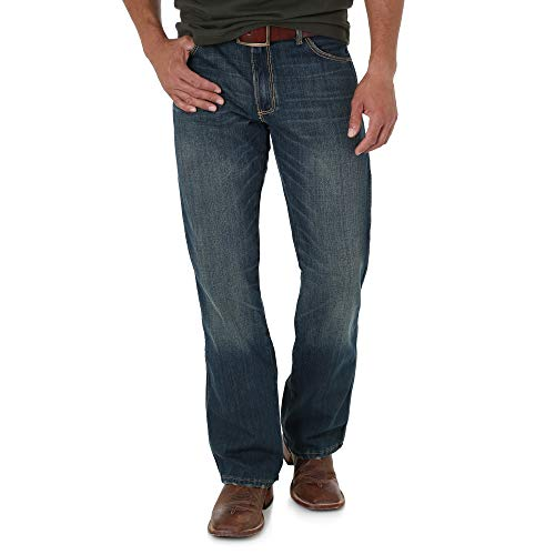 Wrangler Men's Retro Slim Fit Boot Cut Jean, Banjo Blue, 34x36 ()