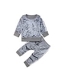 FUNOC Toddler Baby Girl Velvet Clothes T-Shirt Top Pants Outfit Sets Tracksuit