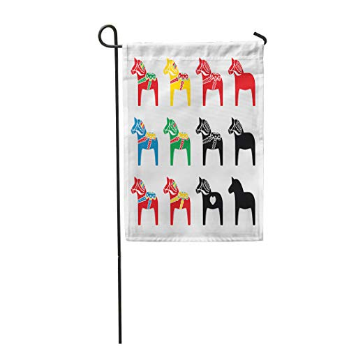 - Semtomn Garden Flag Red Folk Swedish Dalecarlian Dala Horse Blue Dalahorse Sweden 12