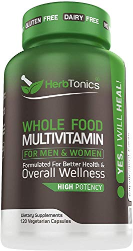 Whole Food Multivitamin for Women & Men with 62 Superfoods From Whole food Markets Real Raw Veggies, Fruits, Probiotic Digestive Enzymes Vitamin E, A, B Complex Ginkgo Bilboba Cinnamon – Vegan Non-GMO
