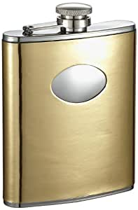 "Visol ""Foxy"" Leather Stainless Steel Hip Flask, 6-Ounce, Polish Gold"