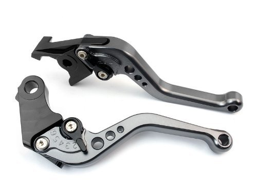 A pair of Short Billet Aluminum Clutch & Brake Levers Motorcycle Set Gray for Yamaha YZF R6 2005 2006 2007 2008 2009 2010 2011 2012 - Brake Billet Lever Aluminum